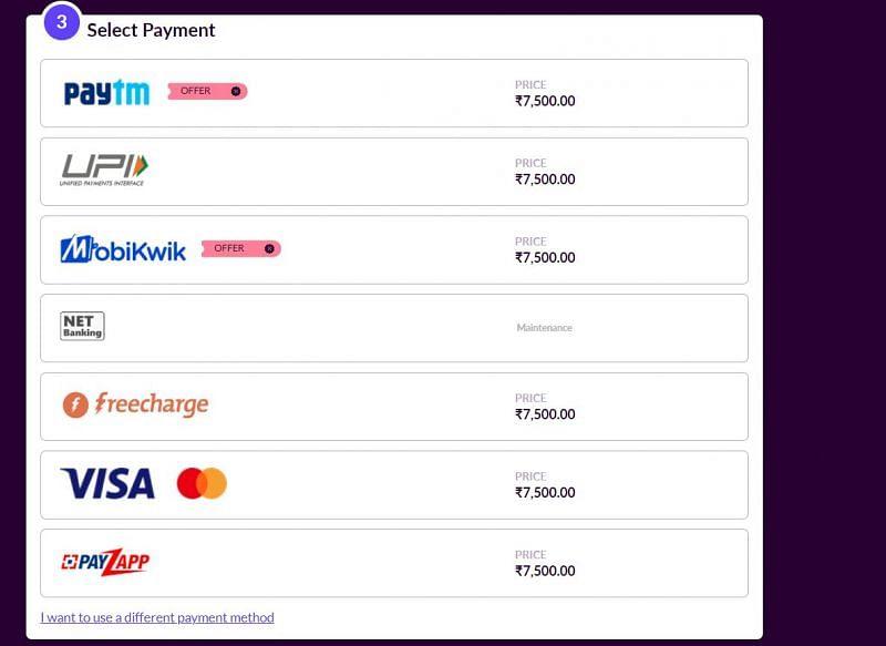 Payment options available on Codashop (Image via Codashop)