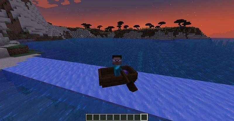 A player traveling via boat and ice (Image via Mojang)