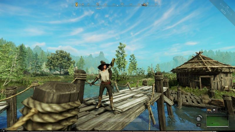 A player after catching a fish in the New World.  (Image via Amazon Games)