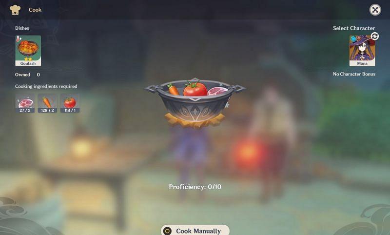 The Goulash cooking screen (Image via Genshin Impact)