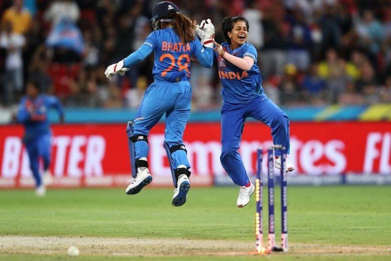 Poonam Yadav celebrates a wicket. (Credits: Twitter)