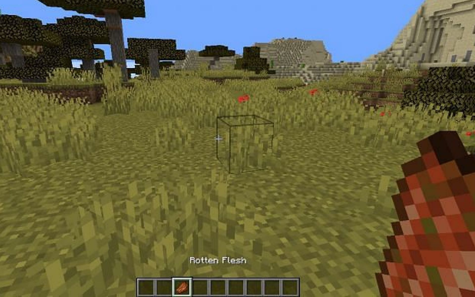 An image of a player who is about to eat rotten flesh (Image via Minecraft)