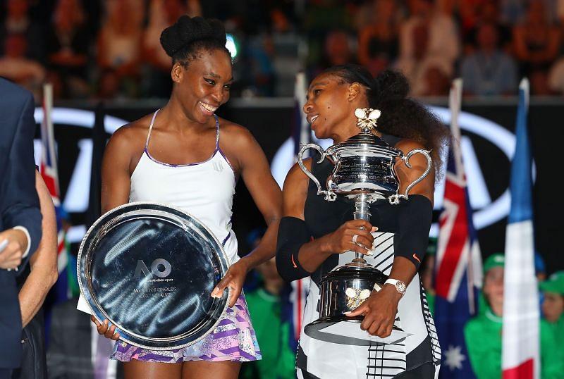 Venus Williams and Serena Williams at the 2017 Australian Open