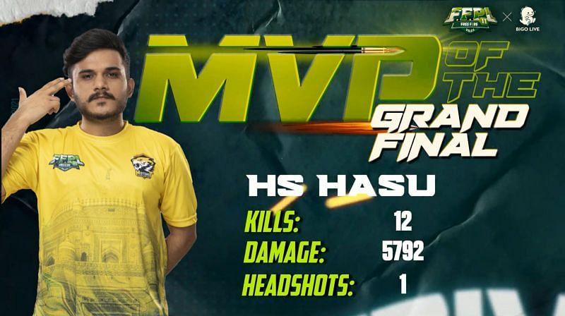 Hasu was the MVP of Free Fire Pakistan League S2 Finals (Image via Free Fire PK)