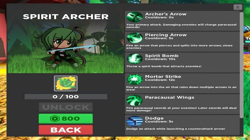 Spirit Archer is all about dealing high amounts of damage. (Image via Roblox)