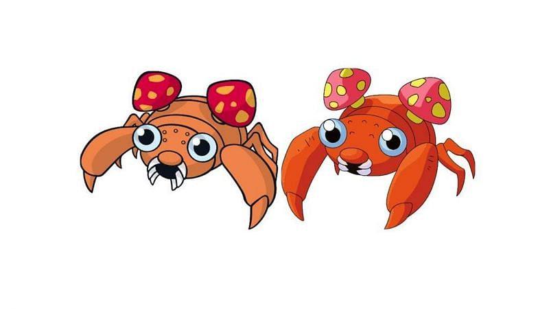 A standard Paras alongside its shiny variant (Image via The Pokemon Company)