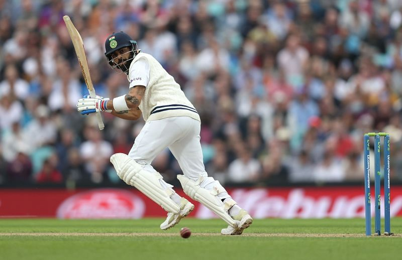Team India cricket skipper Virat Kohli in action during England v India