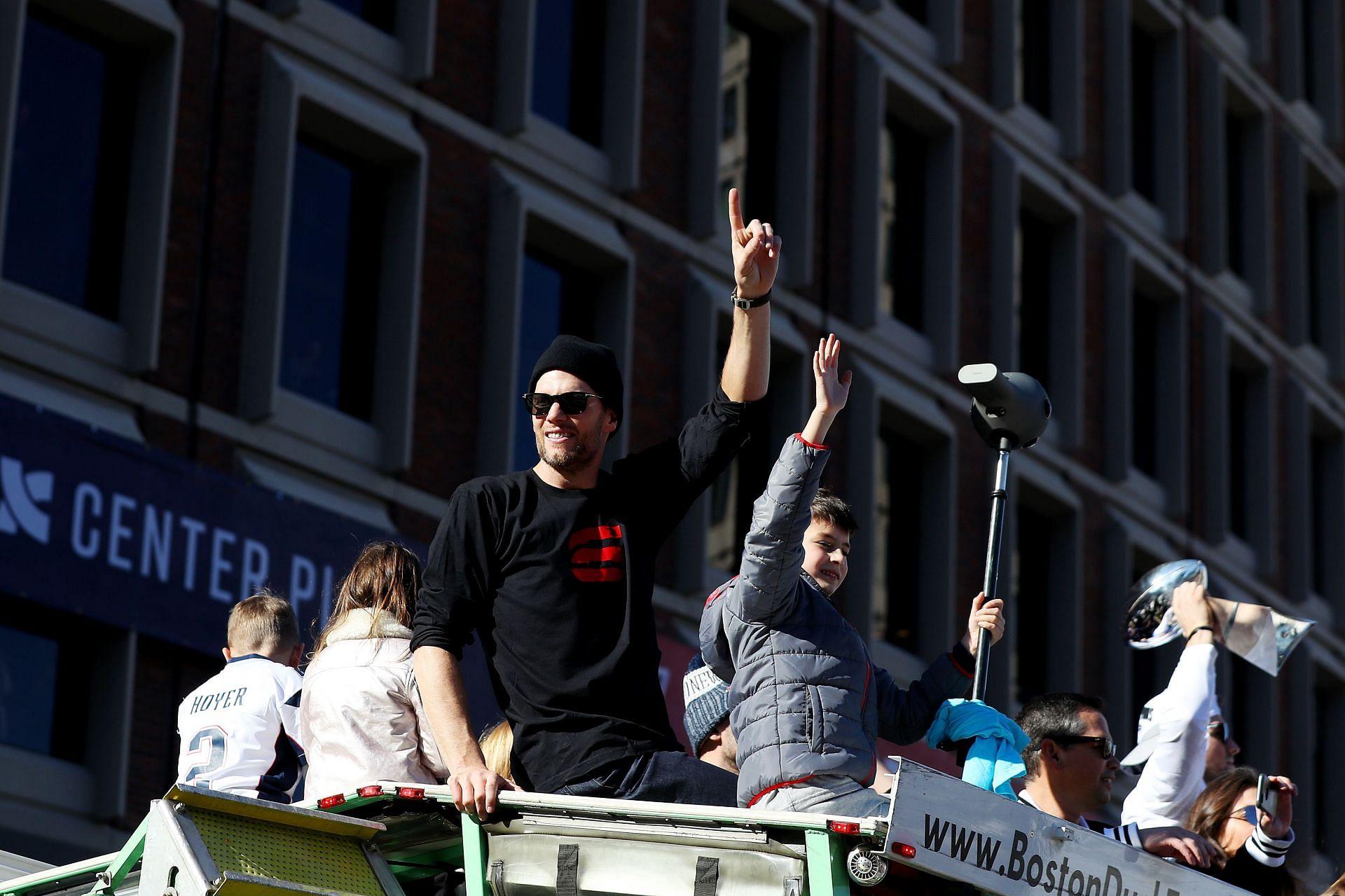 New England Patriots Victory Parade - Tom Brady with his son Jack