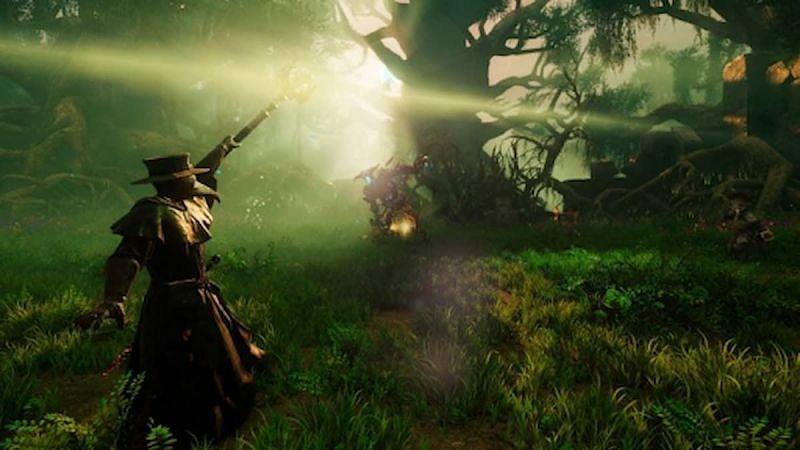 Un jugador en una jungla del nuevo mundo.  (Imagen a través de Amazon Games)