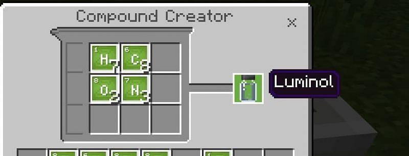 ल्यूमिनॉल के लिए क्राफ्टिंग नुस्खा के लिए कई तत्वों की आवश्यकता होती है जिन्हें प्राप्त करना मुश्किल हो सकता है।  Minecraft के माध्यम से छवि