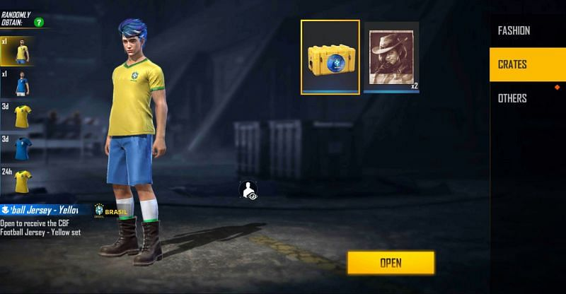 CBF Football Jersey – Yellow Bundle is one of the items in the crate (Image via Free Fire)