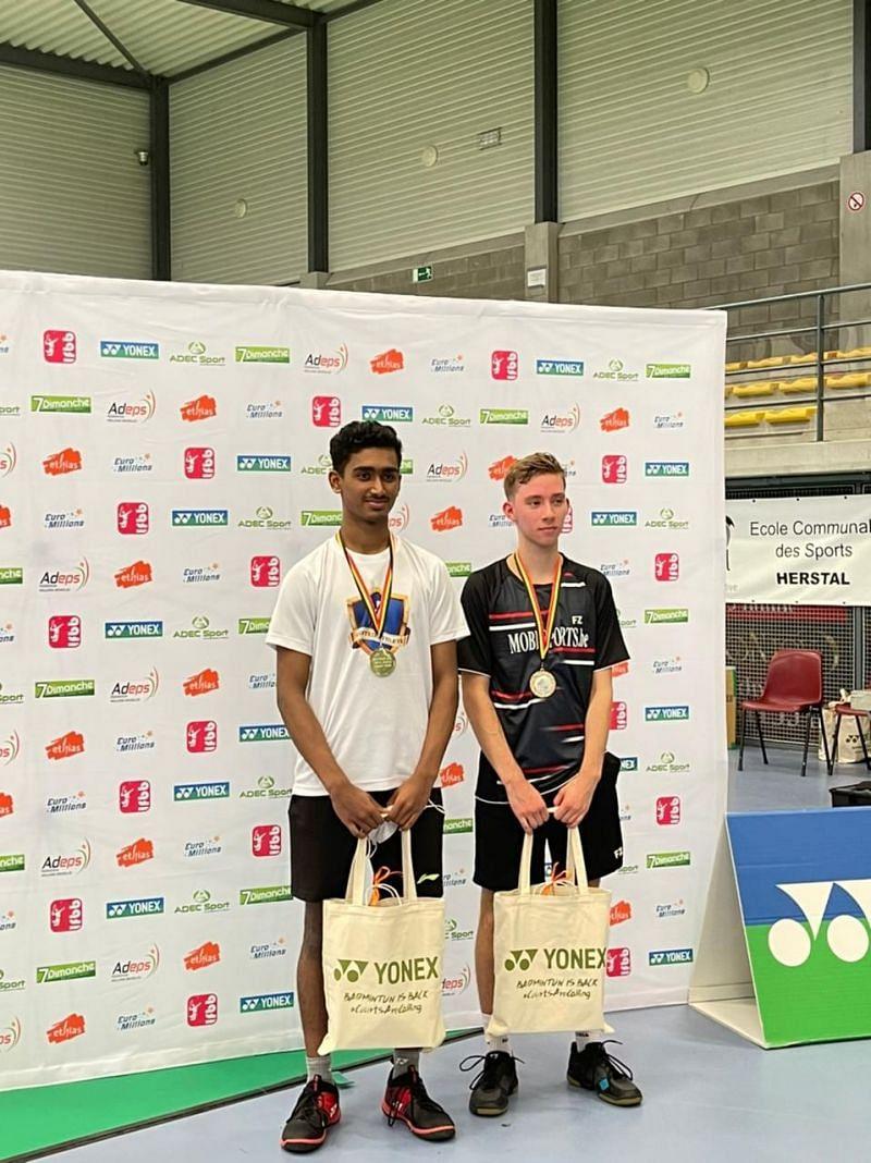 Karnataka teenager Naren Shankar Iyer at the podium in Belgium last week