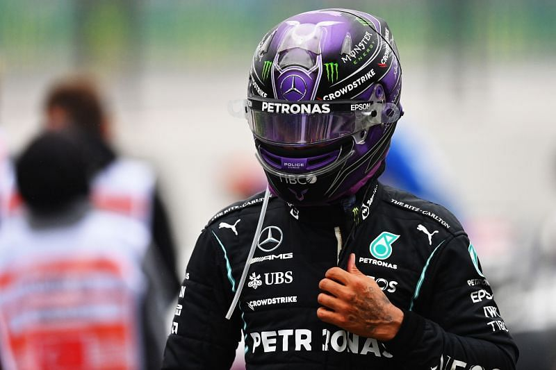 Lewis Hamilton looks on in parc ferme after the 2021 Turkish Grand Prix. (Photo by Dan Mullan/Getty Images)