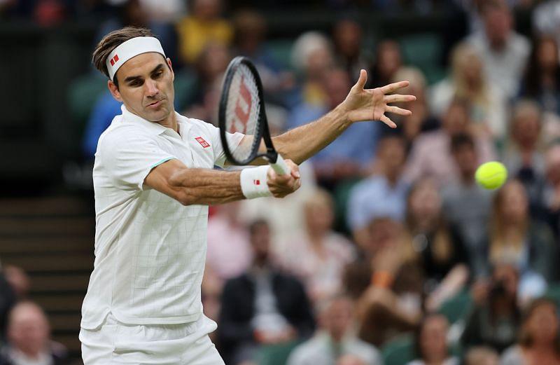Roger Federer in action during Wimbledon 2021