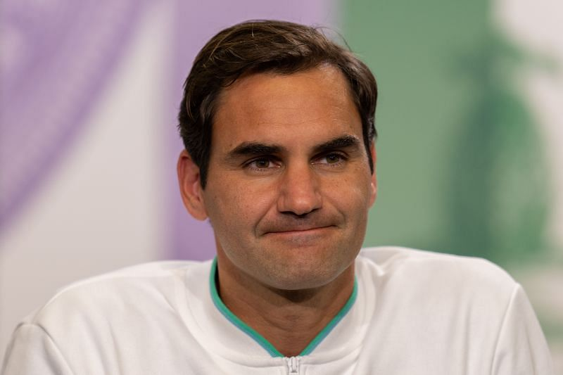 A dejected Roger Federer after his Wimbledon exit