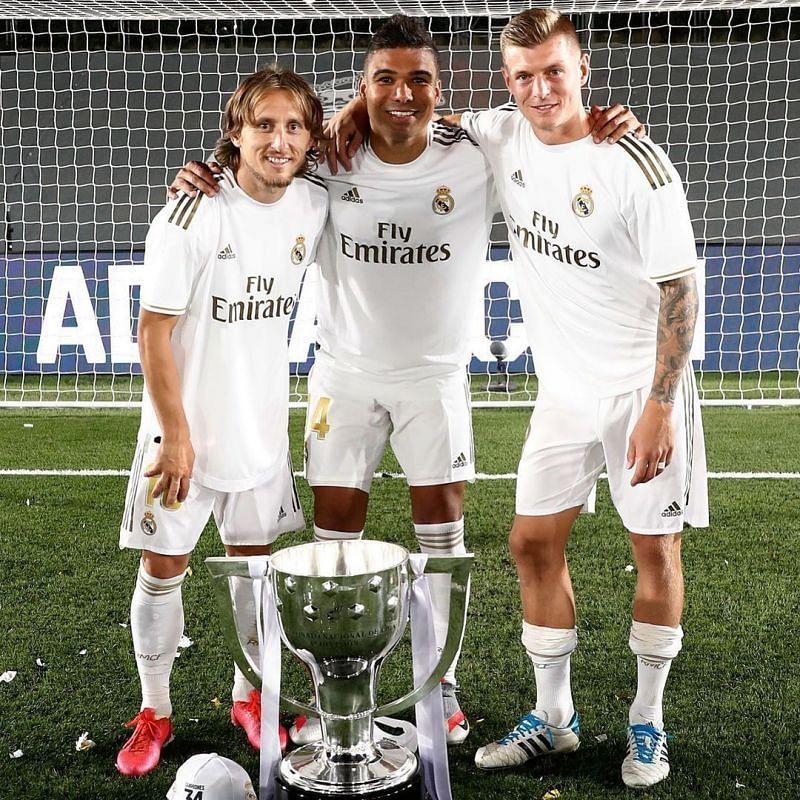 Real Madrid midfield trio celebrating one of their several trophies(Image via Instagram / @ lukamodric10)