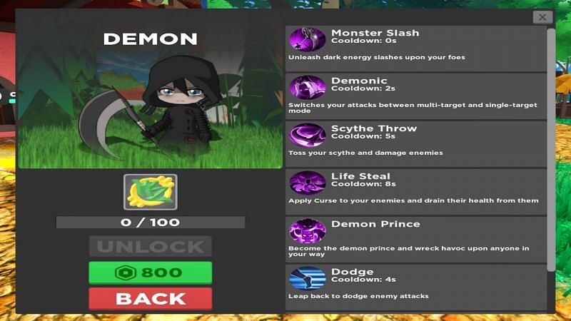 Steal health with the Demon class. (Image via Roblox)