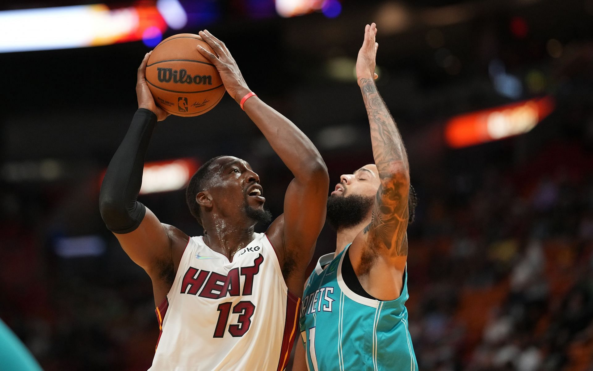 Bam Adebayo of the Miami Heat attempts a hook shot