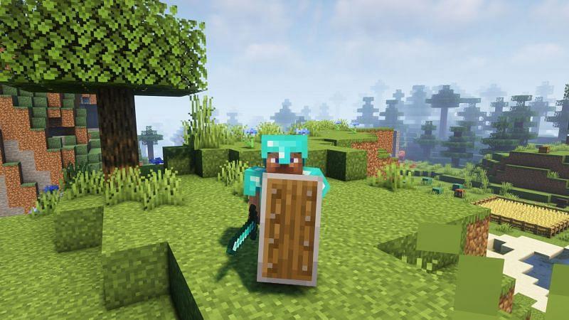 Steve holding a shield (Image via Minecraft)