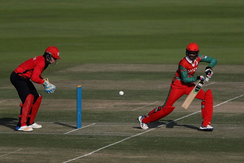 Aqib Ilyas in action for Oman at the Desert T20 Challenge