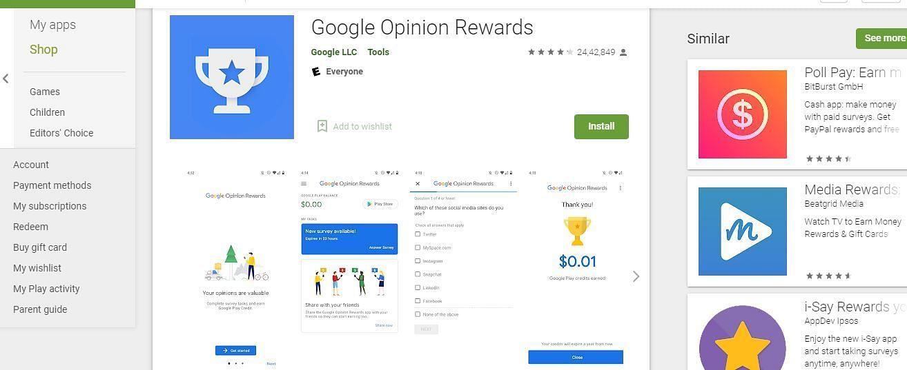 Google Opinion Rewards application (Image via Google Play Store)