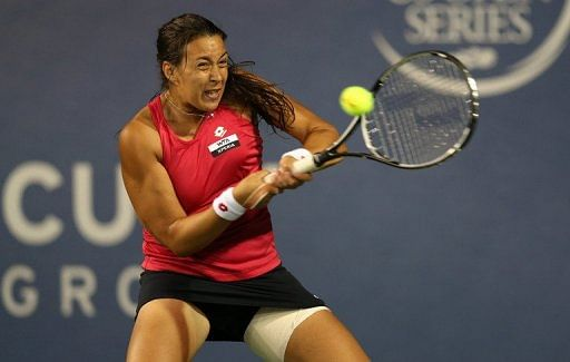 Marion Bartoli competed with a thigh strapping after suffering an injury in her match the day before