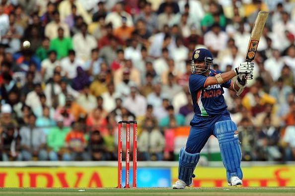 Indian cricketer Sachin Tendulkar plays