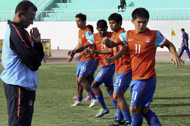 Indian football team at practice session