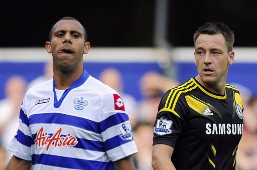 Anton Ferdinand (left) and John Terry play in a Queens Park Rangers-Chelsea game at Loftus Road on September 15, 2012