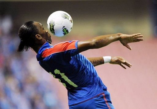 Former Chelsea star Didier Drogba in action for Shanghai Shenhua in the Chinese Super League on September 15, 2012