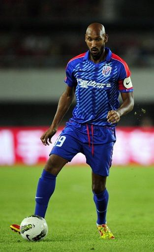 Nicolas Anelka playing for Shanghai Shenhua in a Chinese Super League match on July 28, 2012