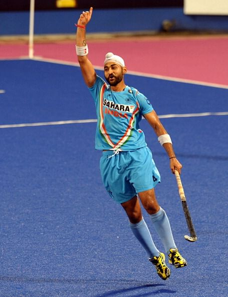Sandeep Singh of India celebrates his fi