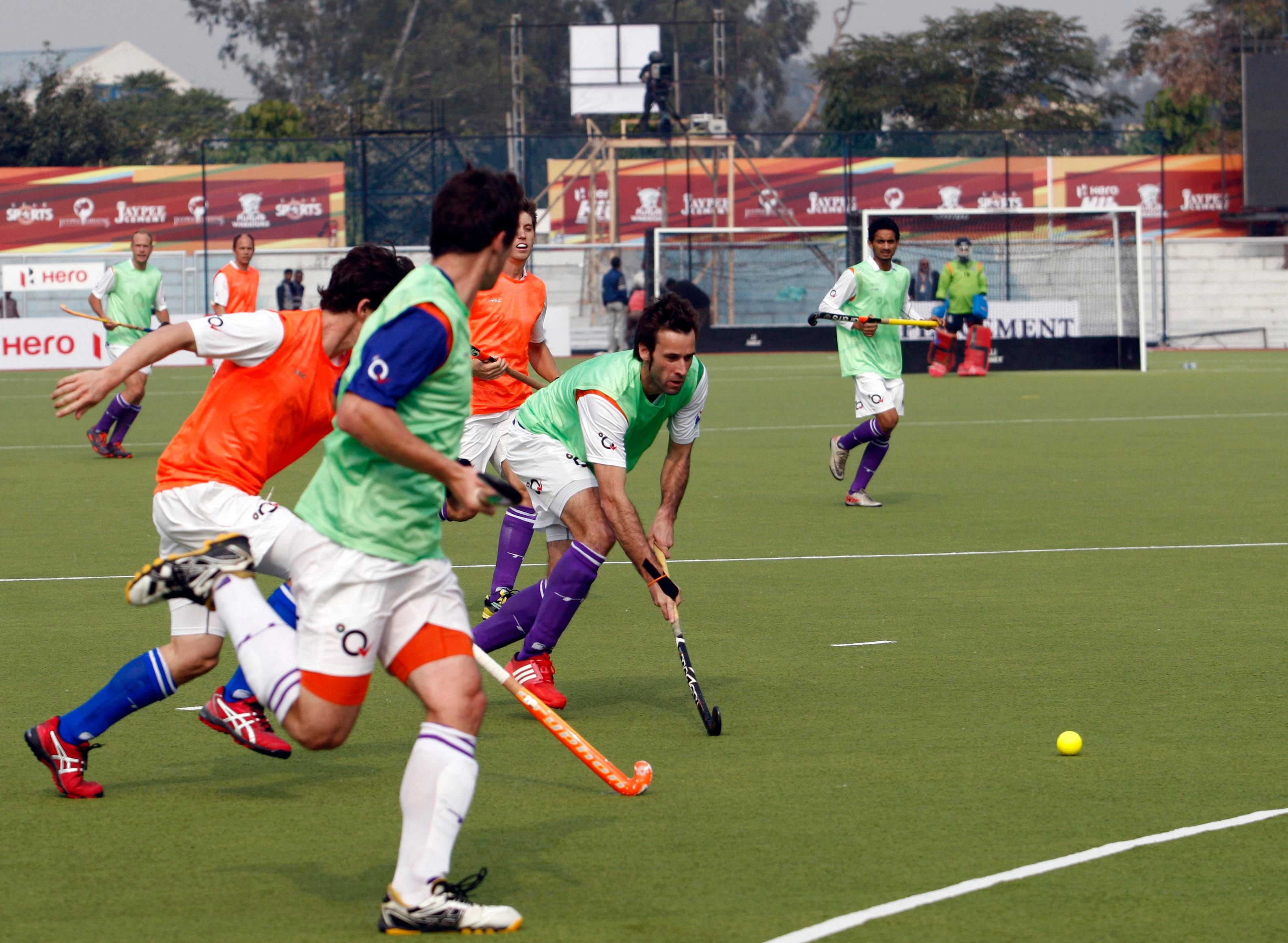 David Alegre dribbles at the Up Wizards team practice session at Jalandhar on 16th Jan 2013