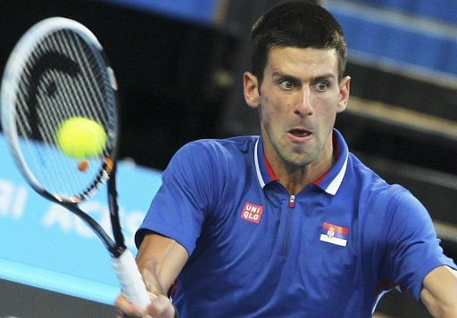 Novak Djokovic of Serbia on day five of the Hopman Cup tennis tournament in Perth on January 2, 2013.