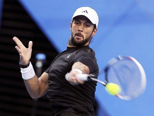 Fernando Verdasco of Spain in action in Perth on January 5, 2013