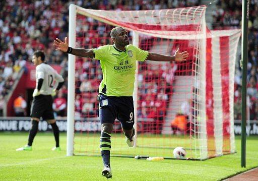 Darren Bent celebrates scoring for Aston Villa against Southampton in Southampton, England on September 22, 2012