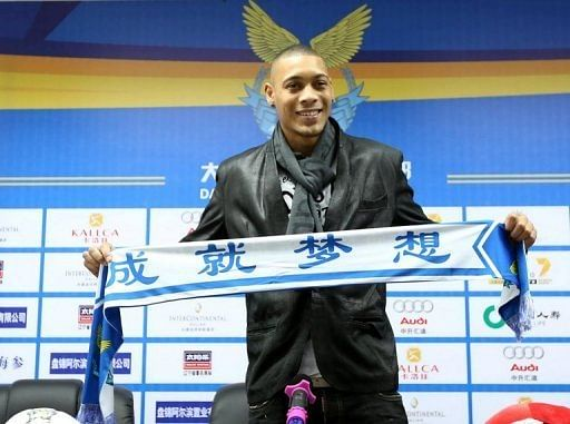 French footballer Guillaume Hoarau attends a press conference held by China