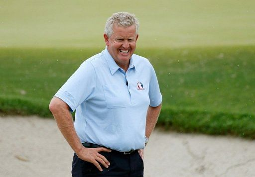 Colin Montgomerie on the course during a practice round of the PGA Championship on August 8, 2012