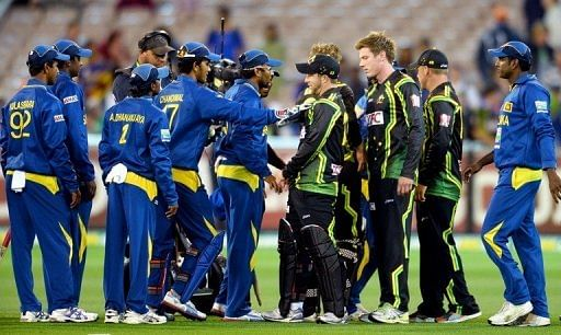 Australian and Sri Lankan players confront each other after the final ball in their Twenty20 match on January 28, 2013