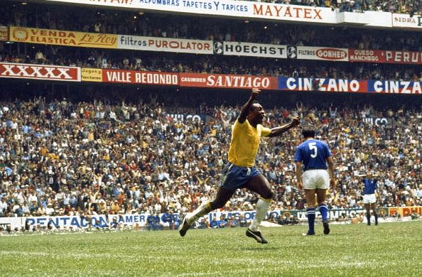 Brazilian soccer star Pele celebrates a goal in Aztec Stadium