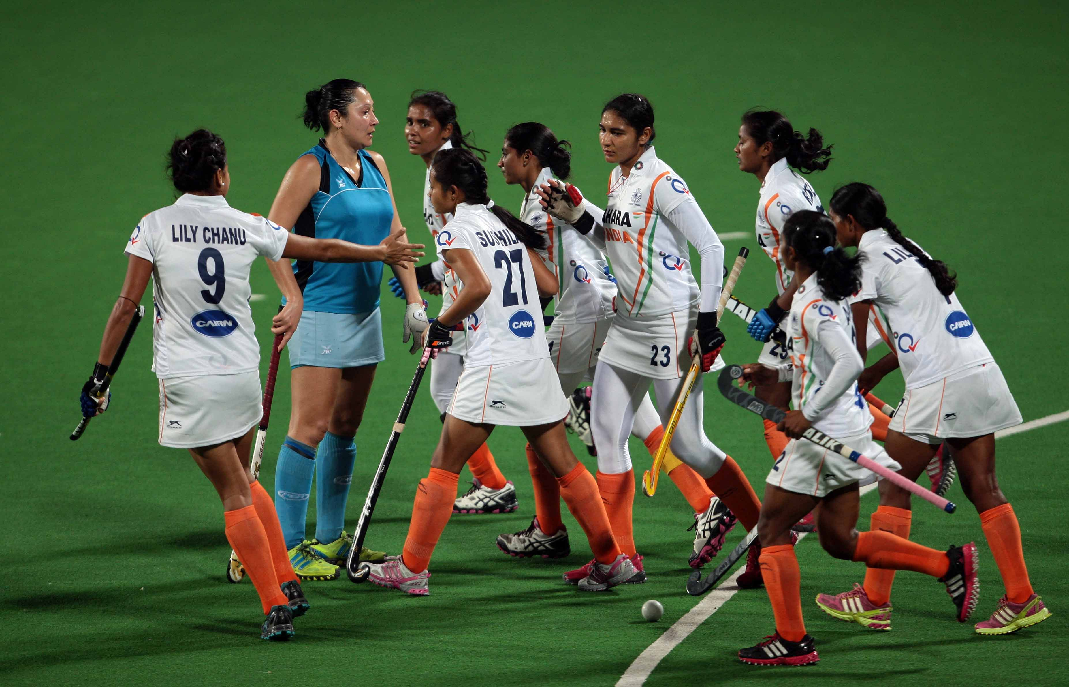 Hero Hockey World League Indian Team  celebrates after hitting a goal against Kazakhstan during the match India vs Kazakhstan at delhi on 18th Feb 2013 (6)