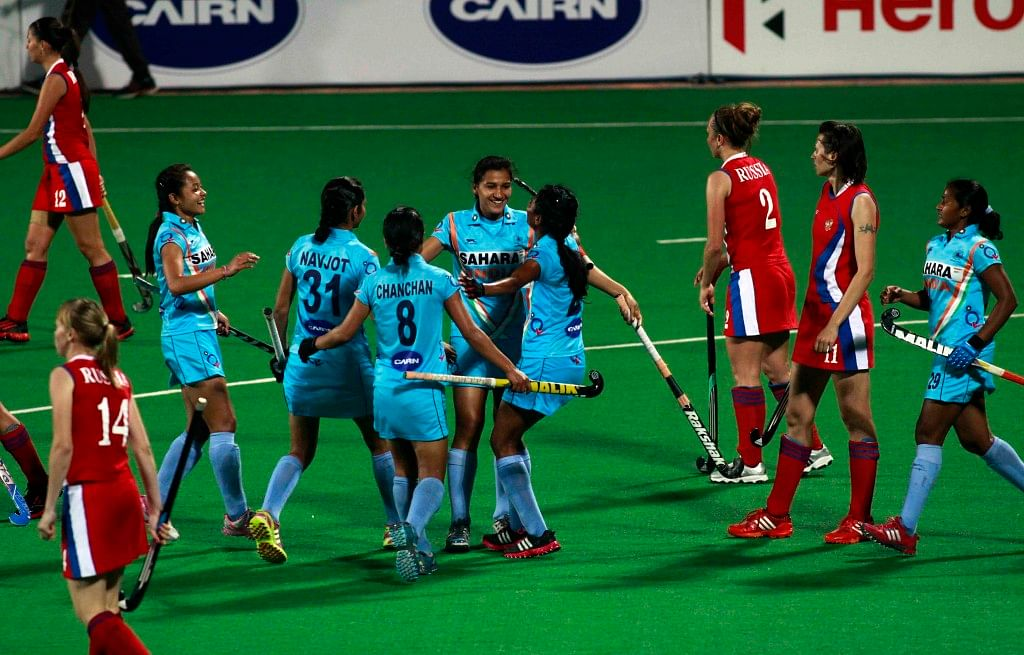 Hero Hockey World League 2013 Indian team celebrates after hit a goal against Russia during the match at Delhi on 24th Feb 2013