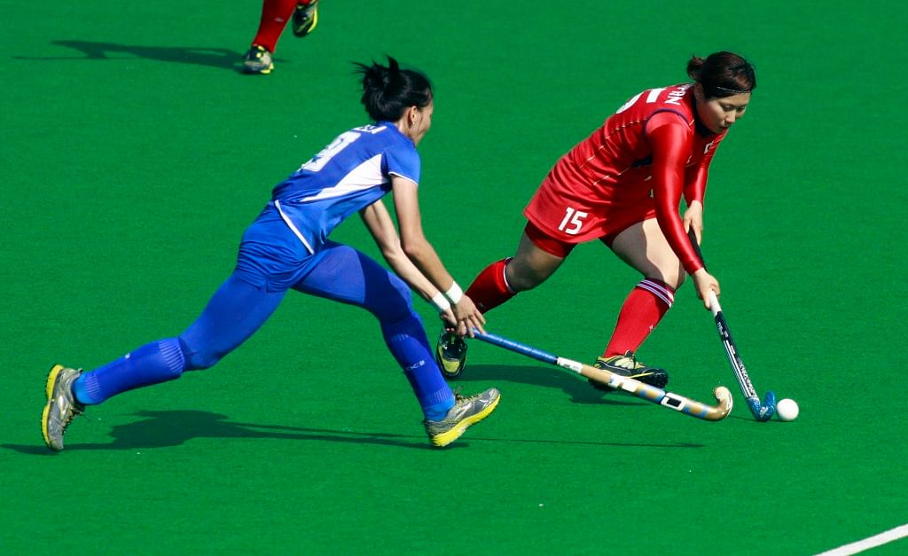 Hero hockey World League 2013 Nagai Yuri of Japan in action against Malaysia during the match at Delhi 24th Feb 2013