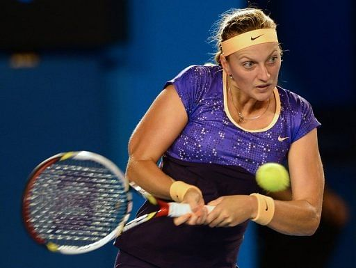 Czech player Petra Kvitova hits a return during a match at the Australian Open in Melbourne on January 17, 2013