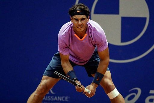 Spanish tennis player Rafael Nadal waits for a ball in Sao Paulo, Brazil, on February 16, 2013