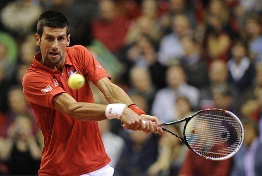Novak Djokovic during a Davis Cup match in Belgium on February 1, 2013