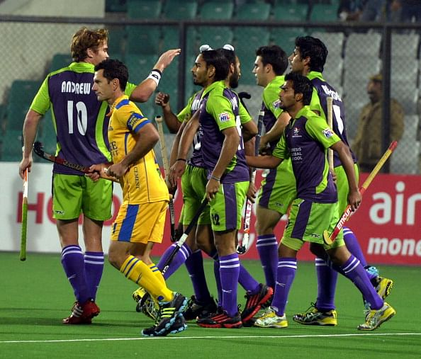 Chandi celebrating a goal with team-mates in match against the Warriors.