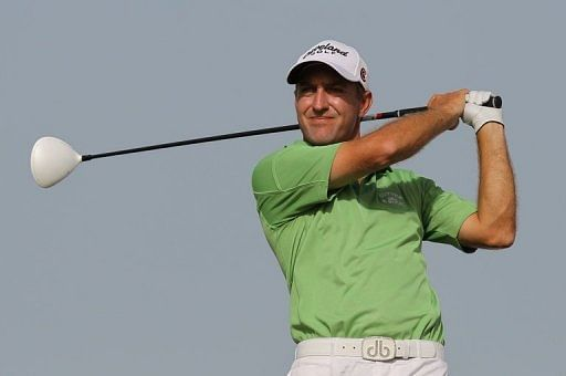 Darren Fichardt of South Africa competes at the Doha Golf Club on February 5, 2011