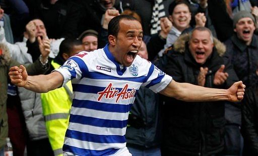 Queens Park Rangers midfielder Andros Townsend celebrates scoring at the Loftus Road Stadium in London on March 9, 2013