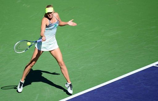 Maria Sharapova hits a forehand return in Indian Wells, California, on March 12, 2013